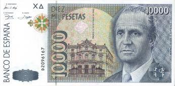 Stará bankovka v hodnotě 10 000 peset