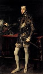 Portrét Filipa II. od italského malíře Tiziana z r. 1551, Muzeum Prado
