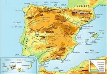 Fyzická mapa Španělska