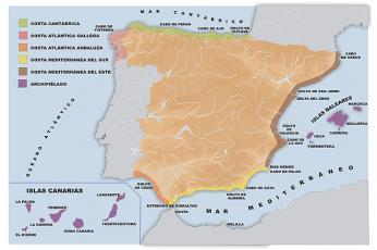 Rozdělení španělského pobřeží