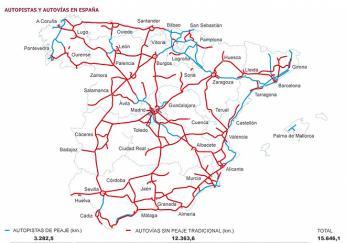 Mapa silnic a dálnic ve Španělsku