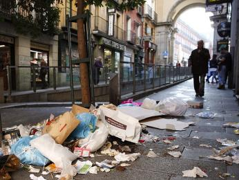 Odpadky vulicích Španělska