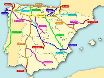 Přehled poutních cest do Santiaga de Compostela