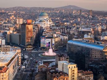 Pohled na moderní část městavBělehradu