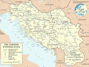 Mapa bývalé Jugoslávie