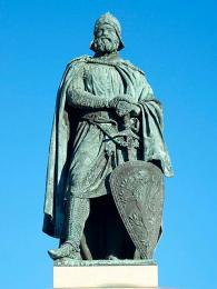 Novodobý pomník jarla Birgera na stockholmském nábřeží Riddarholmen