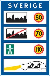 Maximální povolená rychlost ve Švédsku