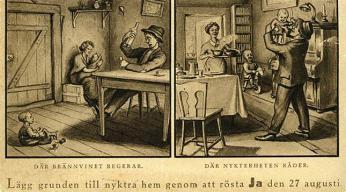 Pohlednice vydaná roku1922 jako propagace hlasování vreferendu ve prospěch prohibice
