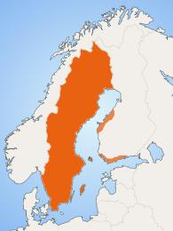 Vyznačené území, kde se hovoří švédsky