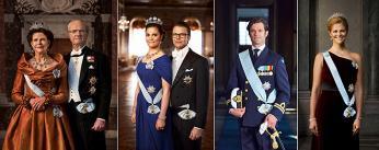 Král Carl XVI. Gustaf skrálovnou Sylvií, korunní princezna Victoria a princ Daniel, princ Carl Philip, princezna Madeleine