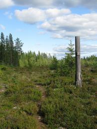 Turistické značky ve Švédsku jsou nejčastěji na dřevěných tabulkách spiktogramem nebo barevnou směrovkou