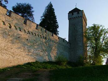 Po cimbuří hradeb se lze projít nebo vylézt na několik hradebních věží
