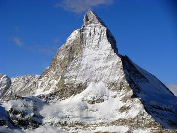 Hora Matterhorn je svýškou 4478m sedmou nejvyšší horou Alp