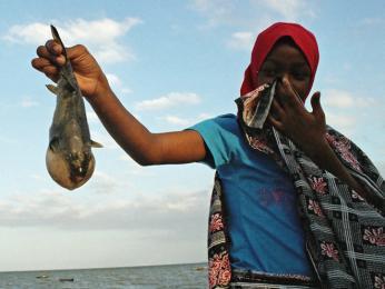 Mladá muslimka z vesnice Bagamoyo ukazuje rybu, kterou rybáři nechali ležet na pláži, protože není k jídlu