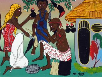Tradiční obřady zobrazené na obraze od malíře Noela Kapandy