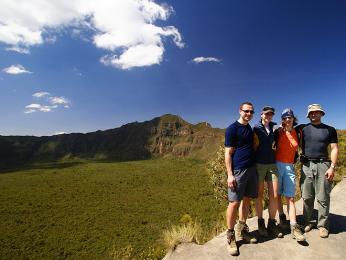 Keňská sopka Longonot leží ve Velké příkopové propadlině