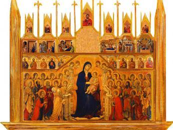 Proslulý oltářní obraz Maesta (Trůnící Madonna) od Duccia