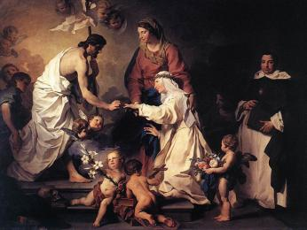 Mystický sňatek Kateřiny Sienské sKristem