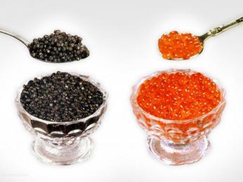 Kvalitní černý ačervený kaviár