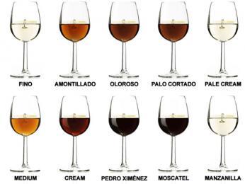 Různé druhy vína sherry mají různé odstíny