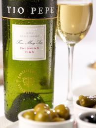 Světlé suché víno Fino
