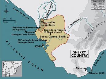 Mapa oblasti na jihu Španělska, kde se víno sherry pěstuje