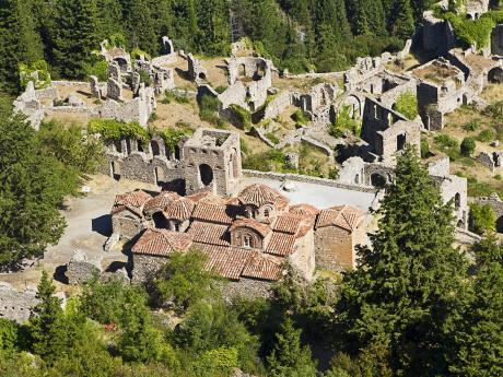Pozůstatky byzantského města Mystra vřecké Lakónii