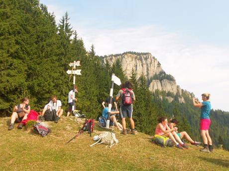 Přestávka během túry vpohoří Ceahlău