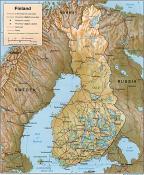 Mapa reliéfu Finska ke stažení
