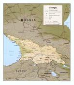 Mapa reliéfu Gruzie ke stažení