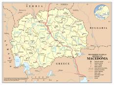 Politická mapa Severní Makedonie ke stažení