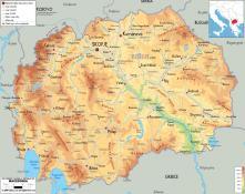 Mapa reliéfu Severní Makedonie ke stažení