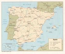 Politická mapa Španělska ke stažení