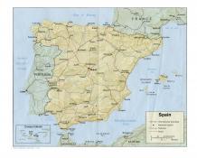Mapa reliéfu Španělska ke stažení