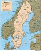 Politická mapa Švédska ke stažení
