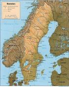 Mapa reliéfu Švédska ke stažení
