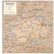 Mapa reliéfu Švýcarska ke stažení