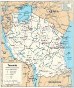 Politická mapa Tanzanie ke stažení