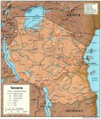 Mapa reliéfu Tanzanie ke stažení