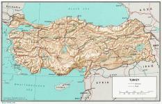 Mapa reliéfu Turecka ke stažení